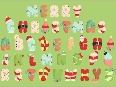 Christmas Alphabet Illustration Set cute font clipart december merry vector illustration alphabet christmas