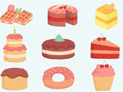 Birthday Cake Decoration Illustration Set dessert sweet donut cartoon waffle cupcake illustration decoration cake birthday
