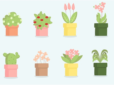Plants Cartoon Illustration Set outdoor garden leaves decoration cactus flower pot illustration cartoon plant
