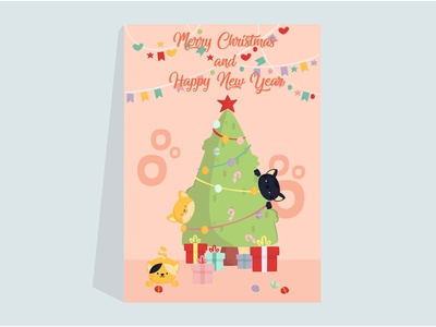 Cats with Christmas Tree Poster printable cartoon ornament gift pet animal poster tree christmas cat