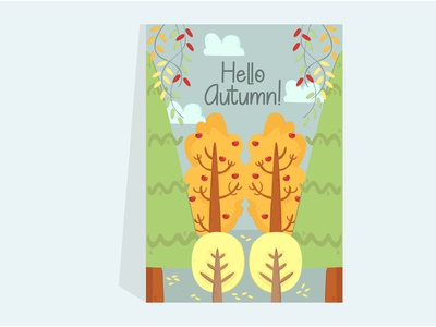 Autumn Forest Illustration Poster decoration outdoor printable tree cartoon vector poster illustration forest autumn