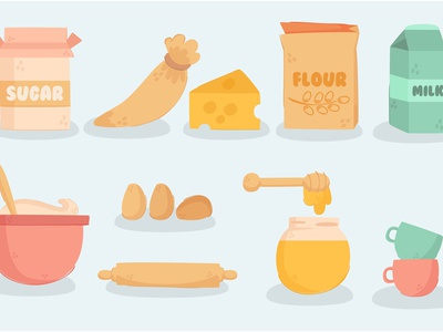 Baking and Cooking Equipment milk flour cheese sugar cartoon vector illustration equipment cooking baking