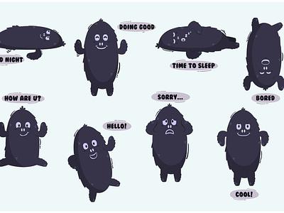 Black Monster Character Cartoon Illustration conversation creature cute bundle vectr illustration cartoon character monster black
