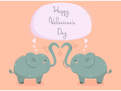 Elephant with Heart Background Illustration romantic day valentine animal love vector illustration background heart elephant
