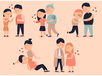 Couple in Love Cartoon Bundle Illustration romantic day valentine character vector illustration bundle cartoon love couple