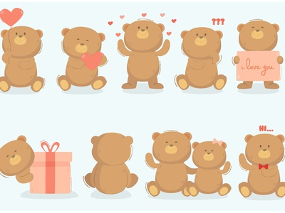Teddy Bear in Different Poses Illustration heart love day valentine animal vector illustration pose bear teddy