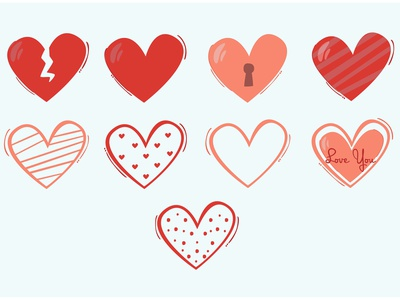 Heart Icon Illustration bundle red romantic day valentine love vector illustration icon heart