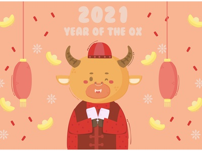 Ox Holding Envelope Chinese New Year Illustration asian animal 2021 vector illustration year new chinese envelope ox