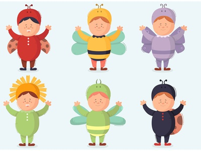 Kid Wearing Costumes Illustration people person child bundle character vector illustration costume kid