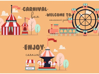 Park with Creative Word Illustration cartoon carousel carnival amusement outdoor vector illustration word creative park
