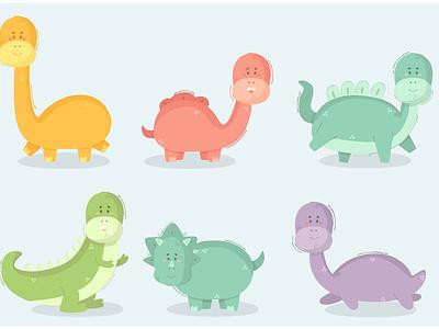 Cartoon Dinosaur Illustration jurassic clipart raptor bundle character animal vector illustration dinosaur cartoon