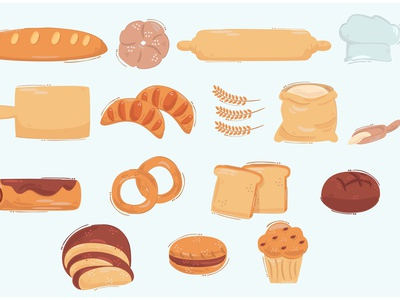 Bread Icon Illustration sugar flour bundle cartoon sweet food vector illustration icon bread