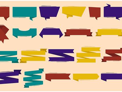 Ribbon Elements Illustration template bundle clipart award bow banner vector illustration element ribbon