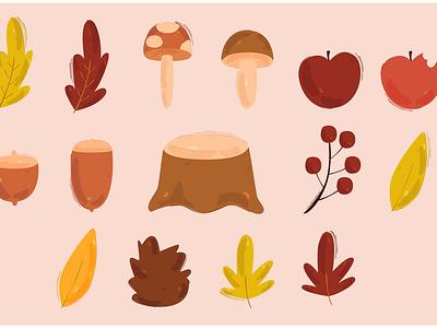 Autumn Vector Illustration orange winter clipart nature season forest leaves illustration vector autumn