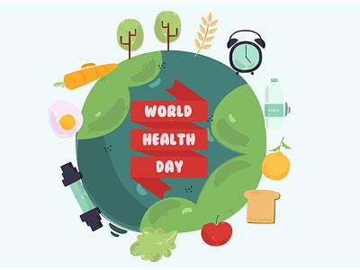 World Health Day 2021 Background Illustration healthy earth celebration vector illustration background 2021 day health world