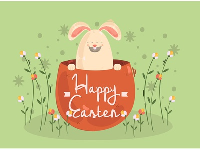 Happy Easter Day Background Illustration bunny rabbit egg wishes vector illustration background day easter happy
