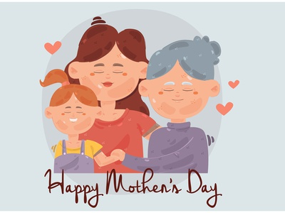 Happy Mother's Day Illustration (2) grandma character celebration event child vector illustration day mother happy