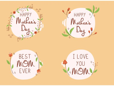 Happy Mother s Day Lettering Badge Illustration celebrate bundle label vector illustration badge lettering day mother happy