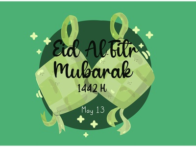 Happy Eid Al Fitr with Traditional Ketupat Illustration dish muslim greeting vector illustration ketupat traditional al-fitr eid happy