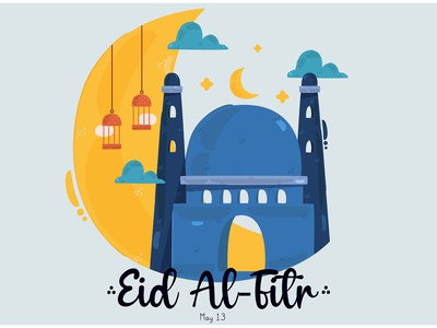 Eid Al Fitr Illustration moon muslim festival greeting celebration mubarak vector illustration al-fitr eid