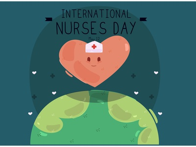 International Nurses Day with Heart Character Illustration patient hospital medical vector illustration character heart day nurse international