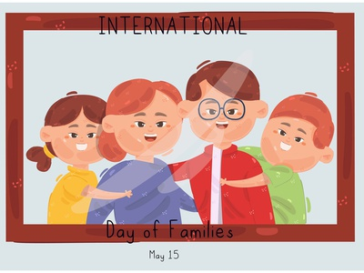 International Day of Families Illustration daughter child mother father character vector illustration family day international