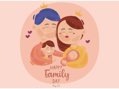 Happy Family Day Illustration character child father mother celebration vector illustration day family happy
