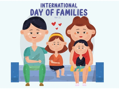 International Day of Families Illustration (2) son daughter child mother father vector illustration family day international