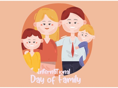 International Day of Families Illustration (3) son daughter child mother father vector illustration family day international