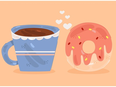 Donut and Coffee Illustration (2) morning dessert breakfast doughnut food drink vector illustration coffee donut