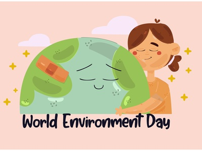 World Environment Day Illustration awareness tree earth pollution nature vector illustration day environment world