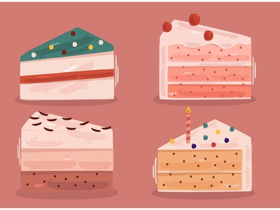 Delicious Cake Illustration vanilla strawberry rainbow chocolate bread food vector illustration cake delicious