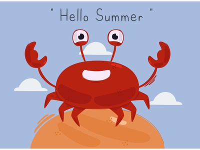 Hello Summer with Crab Character Illustration nature season sun beach vector illustration character crab summer hello