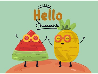 Hello Summer Illustration weather tropical nature season sun beach vector illustration summer hello