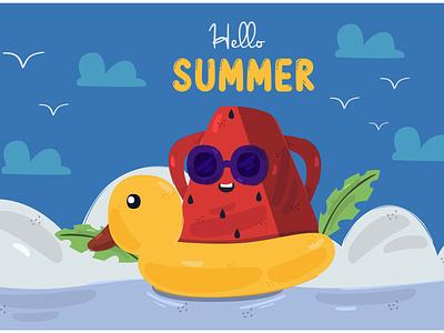Hello Summer Illustration (2) tropical nature season sun beach celebration vector illustration summer hello