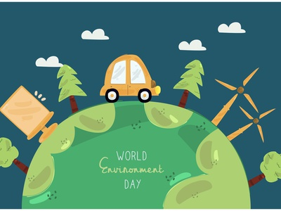 World Environment Day Illustration (3) tree earth pollution nature clebration vector illustration day environment world