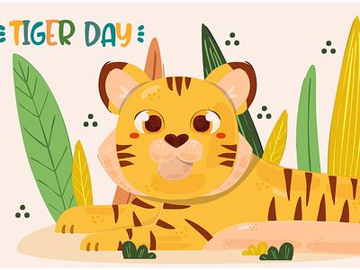 Global Tiger Day Illustration (4) animal wildlife awareness international celebration vector illustration day tiger global
