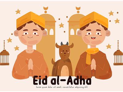 People Celebrating Eid Al-Adha Illustration (2) muslim mubarak holiday islam vector illustration al-adha eid celebration people