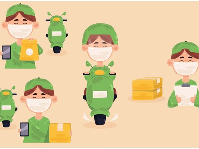 Delivery Man Ride Motorcycle Illustration shipping package courier parcel vector illustration motorcycle ride man delivery