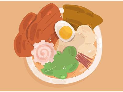 Ramen Illustration beef egg food soup noodle japanese dish vector illustration ramen