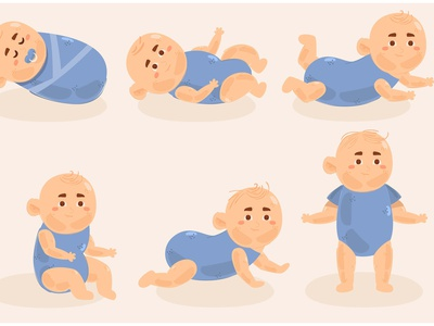 Baby Boy Illustration born grow toddler cartoon character newborn vector illustration boy baby