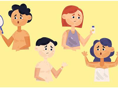 People with Sunburn Illustration sunlight beach body face sun skin vector illustration sunburn people