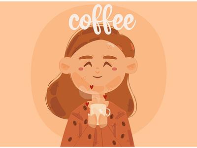 Coffee Illustration mocha cappuccino espresso latte morning drink cup woman vector illustration coffee