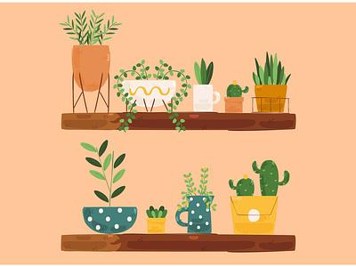 Houseplants Illustration cactus flower tropical tree decoration indoor plant vector illustration houseplant