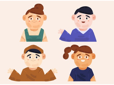 People Looking Up Illustration person face avatar male female cartoon character vector illustration people