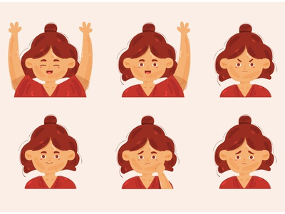 Little Girl with Different Poses Illustration expression portrait face head character female vector illustration pose girl