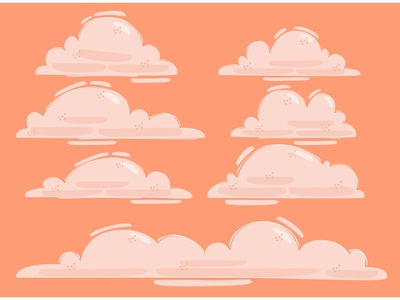 Clouds Illustration cute smoke cartoon white background fluffy sky vector illustration cloud