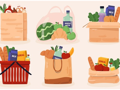 Grocery Bags Supermarket Illustration canvas tote paper shopping plastic vector illustration supermarket bag grocery