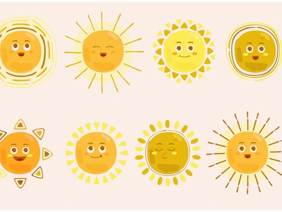 Sunny Emoticons Character Illustration yellow summer clipart light star vector illustration character emoticon sun
