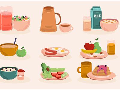 Breakfast Meals Illustration morning vegan food delicious egg healthy vector illustration meal breakfast
